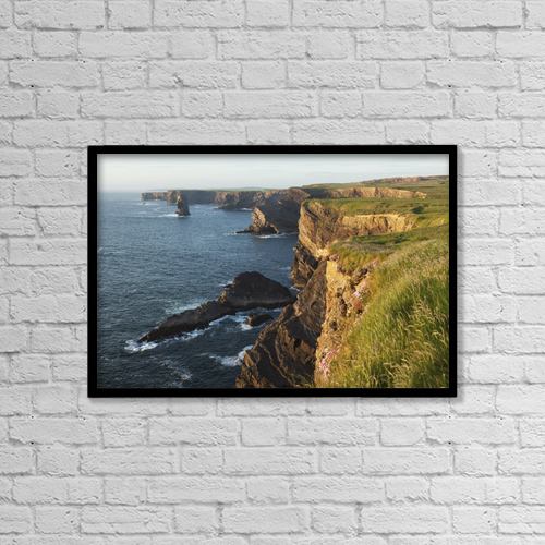 """Printscapes Wall Art: 18"""" x 12"""" Canvas Print With Black Frame - Coast South Of Kilkee by Carl Bruemmer"""
