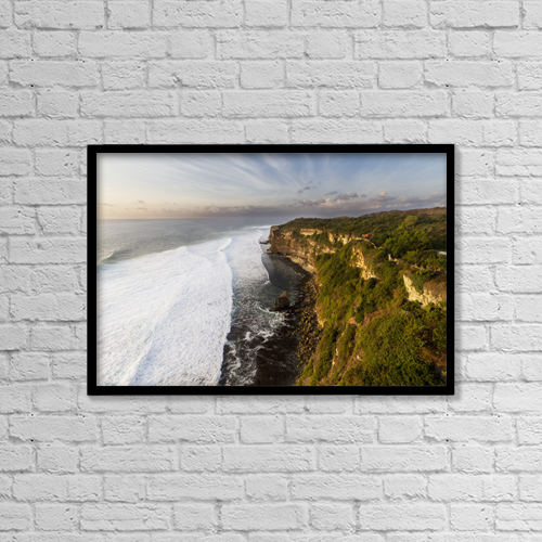 "Printscapes Wall Art: 18"" x 12"" Canvas Print With Black Frame - Ulu Watu Cliffs, Bali, Indonesia by Peter Langer"