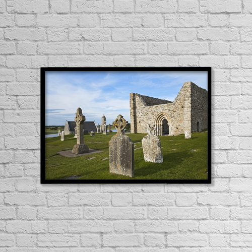 """Printscapes Wall Art: 18"""" x 12"""" Canvas Print With Black Frame - Clonmacnoise (Cloister Ruins) by Carl Bruemmer"""