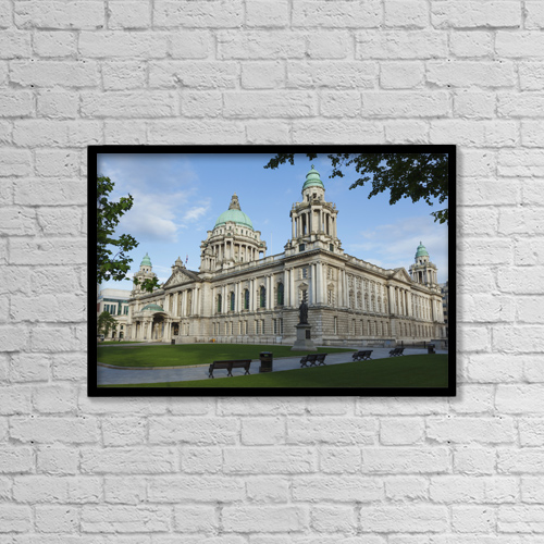 """Printscapes Wall Art: 18"""" x 12"""" Canvas Print With Black Frame - City Hall; Belfast, Northern Ireland by Carl Bruemmer"""