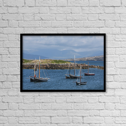 "Printscapes Wall Art: 18"" x 12"" Canvas Print With Black Frame - Historic Sailing Boats by Carl Bruemmer"