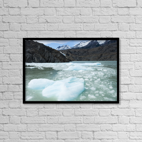 "Printscapes Wall Art: 18"" x 12"" Canvas Print With Black Frame - Southern Patagonian Ice Field by Keith Levit"