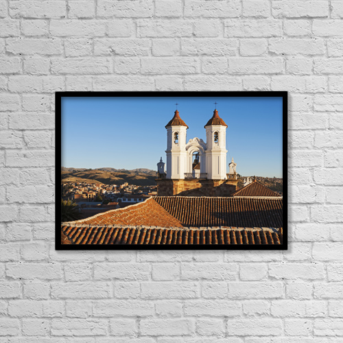 "Printscapes Wall Art: 18"" x 12"" Canvas Print With Black Frame - Iglesia San Felipe-Neri; Sucre, Bolivia by Carl Bruemmer"