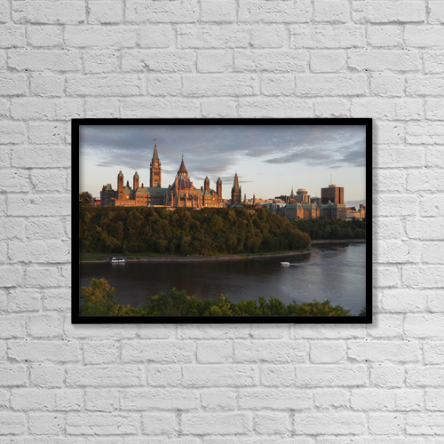 "Printscapes Wall Art: 18"" x 12"" Canvas Print With Black Frame - Parliament Hill; Ottawa, Ontario, Canada by Carl Bruemmer"