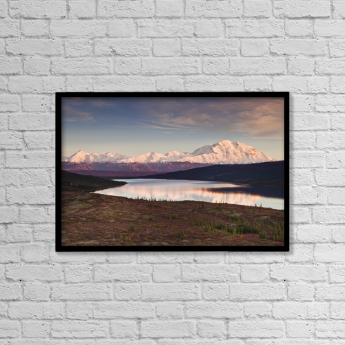 """Printscapes Wall Art: 18"""" x 12"""" Canvas Print With Black Frame - Alpenglow On Denali (Mt by Ray Bulson"""