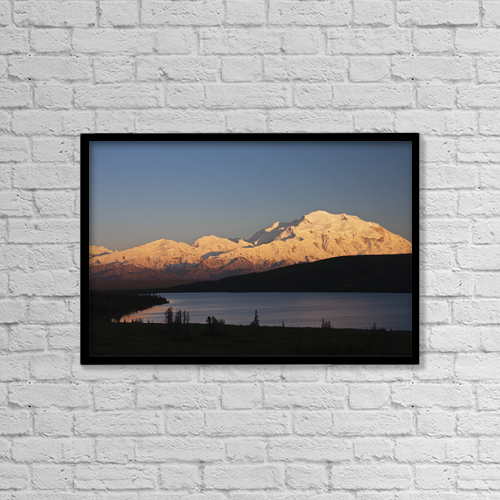 "Printscapes Wall Art: 18"" x 12"" Canvas Print With Black Frame - Sunset Scenic Over Wonder Lake And Mt by Alissa Crandall"