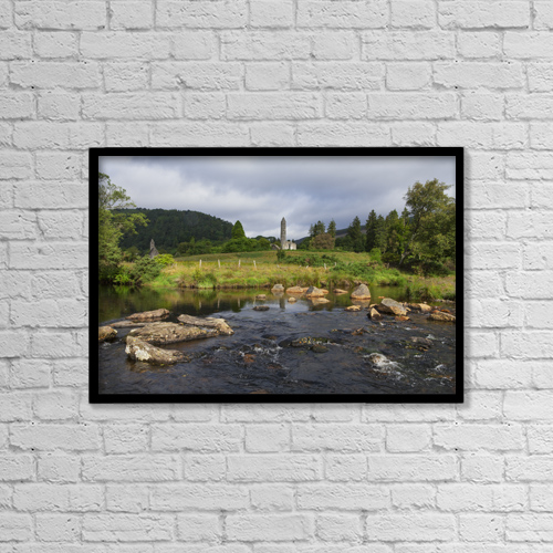"Printscapes Wall Art: 18"" x 12"" Canvas Print With Black Frame - Glendalough Monastery by Carl Bruemmer"