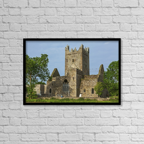 "Printscapes Wall Art: 18"" x 12"" Canvas Print With Black Frame - Jerpoint Abbey; County Kilkenny, Ireland by Carl Bruemmer"