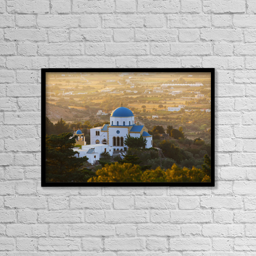 """Printscapes Wall Art: 18"""" x 12"""" Canvas Print With Black Frame - Evangelistria Church Of Zia by Terence Waeland"""
