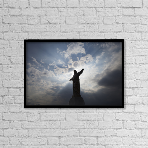 "Printscapes Wall Art: 18"" x 12"" Canvas Print With Black Frame - Statue At Holy Redeemer Catholic Cemetery by Ron Bouwhuis"