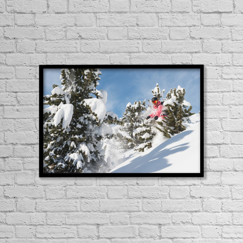 "Printscapes Wall Art: 18"" x 12"" Canvas Print With Black Frame - Snowboarding In Powder Snow; St by Roland Hemmi"