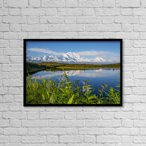 "Printscapes Wall Art: 18"" x 12"" Canvas Print With Black Frame - Scenic View Of Mt by Cathy Hart"