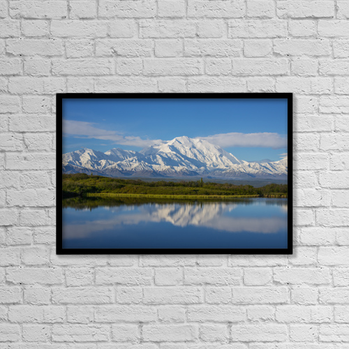 """Printscapes Wall Art: 18"""" x 12"""" Canvas Print With Black Frame - Scenic View Of Mt by Cathy Hart"""