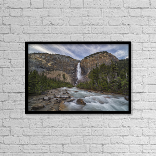 "Printscapes Wall Art: 18"" x 12"" Canvas Print With Black Frame - Takkakaw Falls, Yoho National Park by Robert Postma"