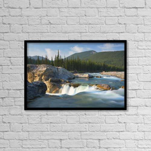 "Printscapes Wall Art: 18"" x 12"" Canvas Print With Black Frame - River And Waterfall In Morning Light by Philippe Widling"
