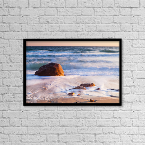 "Printscapes Wall Art: 18"" x 12"" Canvas Print With Black Frame - Gay Head Public Beach At Sunset by Kav Dadfar"