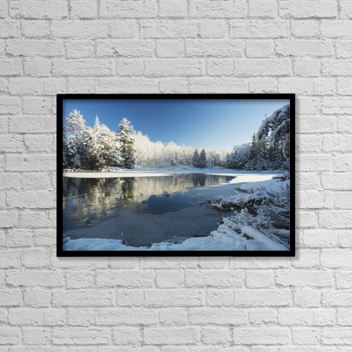 "Printscapes Wall Art: 18"" x 12"" Canvas Print With Black Frame - Winter Landscape With Ice On A Lake by Julie DeRoche"