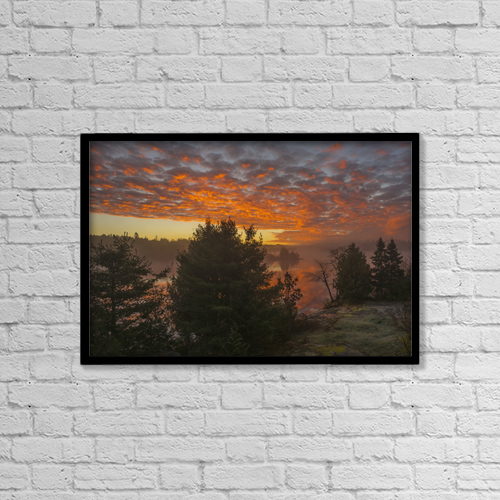 "Printscapes Wall Art: 18"" x 12"" Canvas Print With Black Frame - Glowing Clouds At Sunrise; Ontario, Canada by Julie DeRoche"