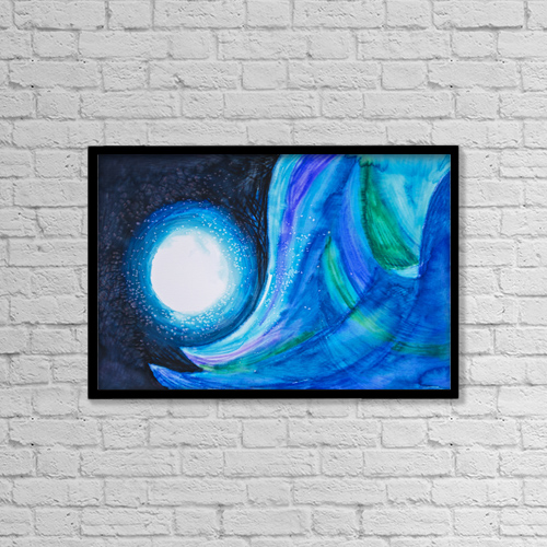 """Printscapes Wall Art: 18"""" x 12"""" Canvas Print With Black Frame - Abstract Painting With Blues And Greens by Tara Thelen"""