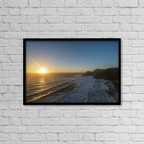 "Printscapes Wall Art: 18"" x 12"" Canvas Print With Black Frame - Sun Setting Along The Oregon Coast by Remsberg Inc"