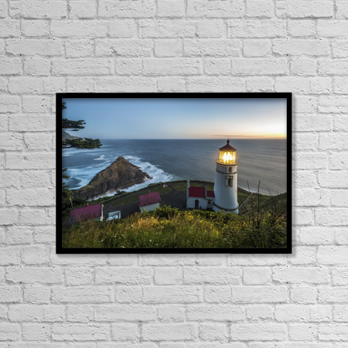 "Printscapes Wall Art: 18"" x 12"" Canvas Print With Black Frame - Heceta Head Lighthouse At Dusk by Remsberg Inc"