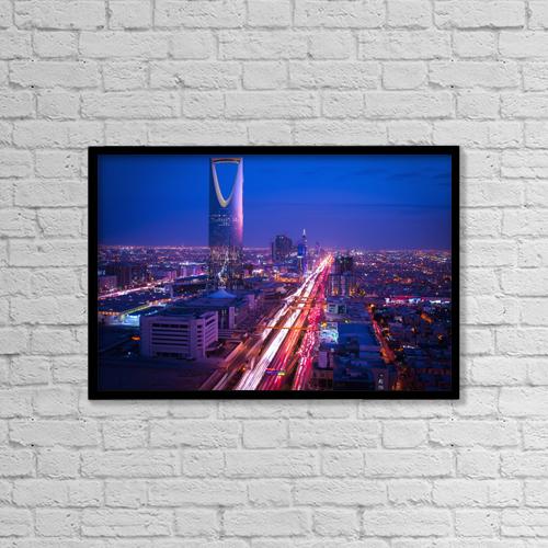 "Printscapes Wall Art: 18"" x 12"" Canvas Print With Black Frame - Sunset Over Riyadh; Riyadh, Saudi Arabia by David Kirkland"