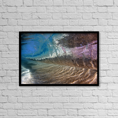 "Printscapes Wall Art: 18"" x 12"" Canvas Print With Black Frame - Underwater View Of A Breaking Wave by Vince Cavataio"