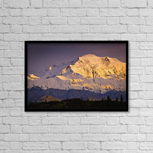 "Printscapes Wall Art: 18"" x 12"" Canvas Print With Black Frame - Sunset Glow On Mt by Sunny Awazuhara- Reed"