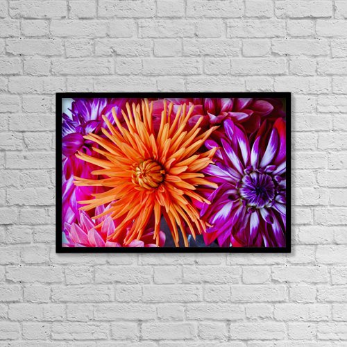 "Printscapes Wall Art: 18"" x 12"" Canvas Print With Black Frame - Close Up Of Blossoming Flowers by Lorna Rande"