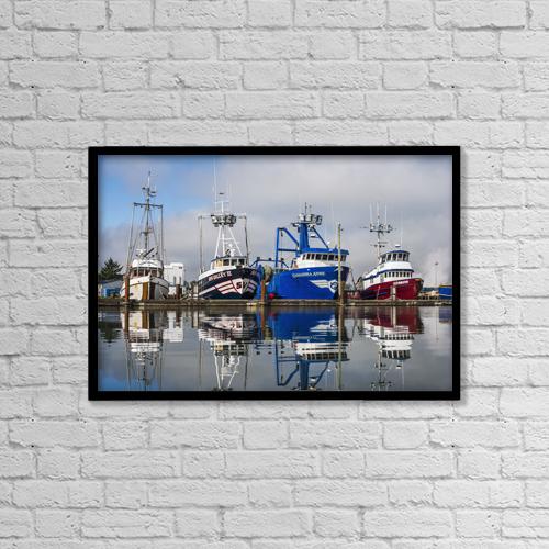 "Printscapes Wall Art: 18"" x 12"" Canvas Print With Black Frame - Fishing Boats Moored At The Dock by Robert L. Potts"