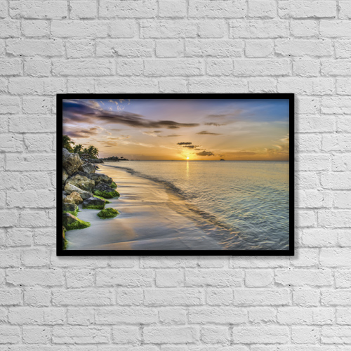 "Printscapes Wall Art: 18"" x 12"" Canvas Print With Black Frame - Sunset Over Dickenson Bay; St by F. M. Kearney"