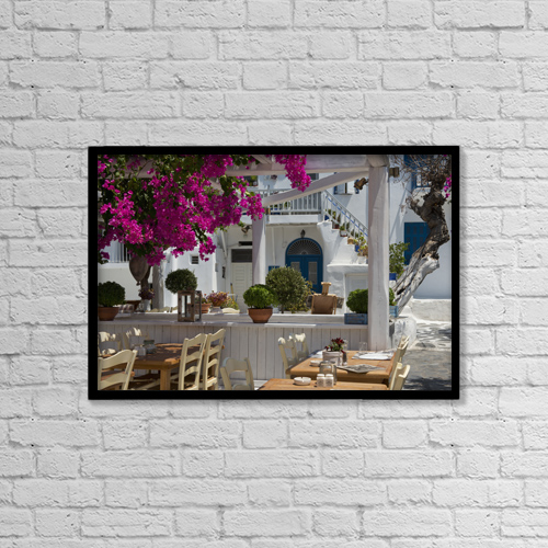 "Printscapes Wall Art: 18"" x 12"" Canvas Print With Black Frame - Bougainvillea Growing Around A Taverna by Ellen Rooney"