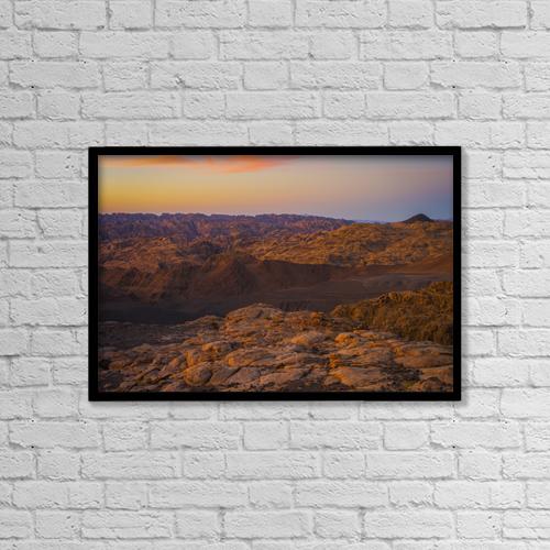 "Printscapes Wall Art: 18"" x 12"" Canvas Print With Black Frame - Mountain Scene At Sunset, Near Tabuk by David Kirkland"