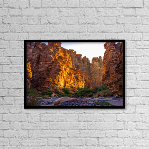 "Printscapes Wall Art: 18"" x 12"" Canvas Print With Black Frame - Rock Cliffs And Valley, Near Tabuk by David Kirkland"