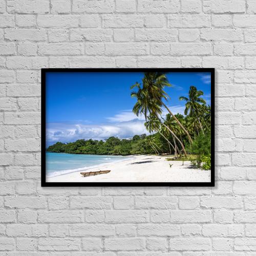 "Printscapes Wall Art: 18"" x 12"" Canvas Print With Black Frame - Port Resolution; Santo Island, Vanuatu by David Kirkland"
