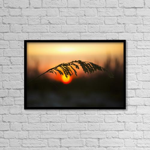 "Printscapes Wall Art: 18"" x 12"" Canvas Print With Black Frame - Sea Oats At Sunset, Siesta Key Beach by Lynn Stone"