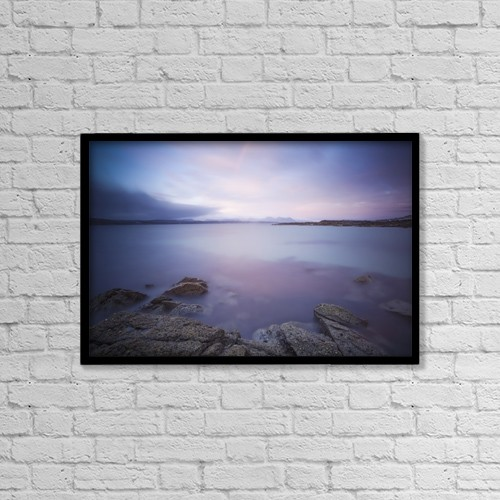 "Printscapes Wall Art: 18"" x 12"" Canvas Print With Black Frame - Irish Seascape With Rainbow Out Over The Sea by Peter McCabe"