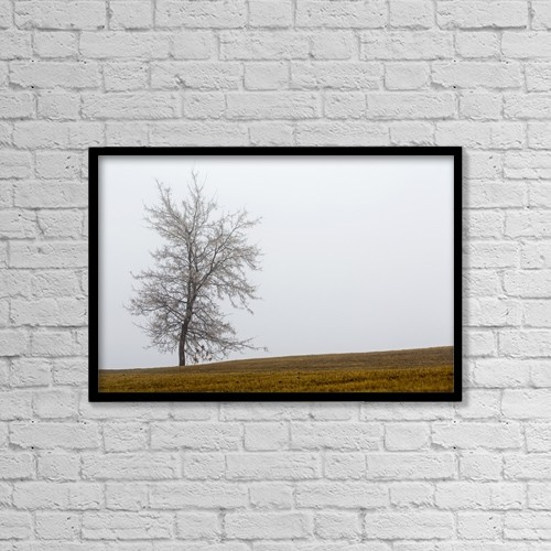 "Printscapes Wall Art: 18"" x 12"" Canvas Print With Black Frame - Single Tree On A Foggy Hillside by Michael Interisano"