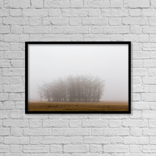 "Printscapes Wall Art: 18"" x 12"" Canvas Print With Black Frame - Trees In A Foggy Field by Michael Interisano"