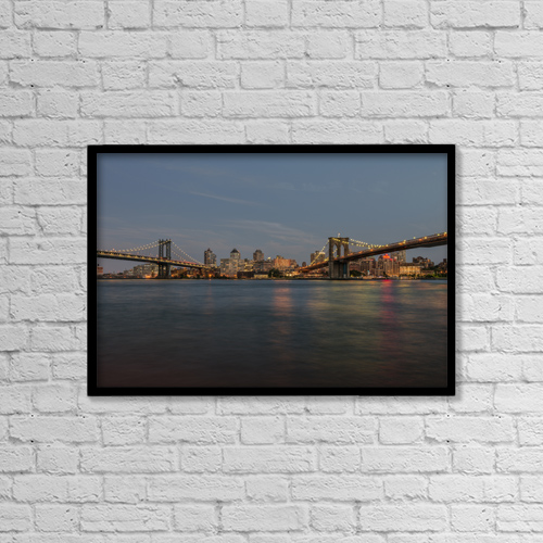 "Printscapes Wall Art: 18"" x 12"" Canvas Print With Black Frame - Manhattan And Brooklyn Bridges At Sunset by F. M. Kearney"