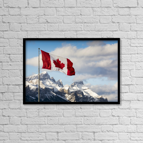 "Printscapes Wall Art: 18"" x 12"" Canvas Print With Black Frame - Maps Globes and Flags by Michael Interisano"