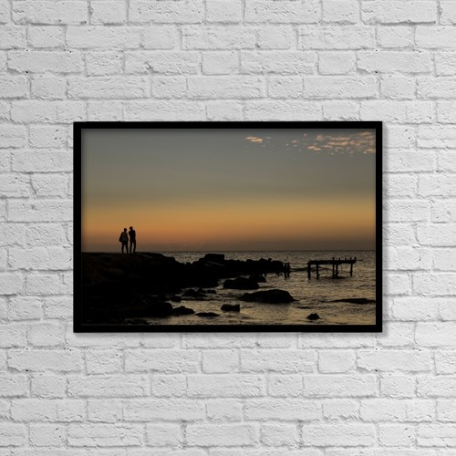 "Printscapes Wall Art: 18"" x 12"" Canvas Print With Black Frame - People by John Short"