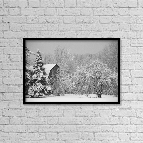 "Printscapes Wall Art: 18"" x 12"" Canvas Print With Black Frame - Snow Covered Trees And Rooftop Of A Barn by David Chapman"