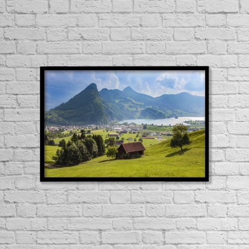 "Printscapes Wall Art: 18"" x 12"" Canvas Print With Black Frame - Seewen, A Village On Lake Lauerz by Ken Welsh"