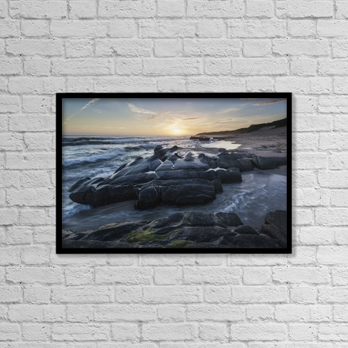 "Printscapes Wall Art: 18"" x 12"" Canvas Print With Black Frame - Sunset And Water Washing Up On The Shore by Ben Welsh"