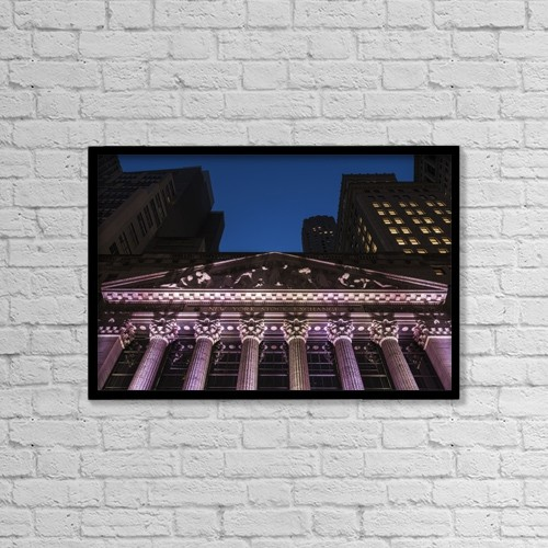 """Printscapes Wall Art: 18"""" x 12"""" Canvas Print With Black Frame - New York Stock Exchange At Twilight by F. M. Kearney"""