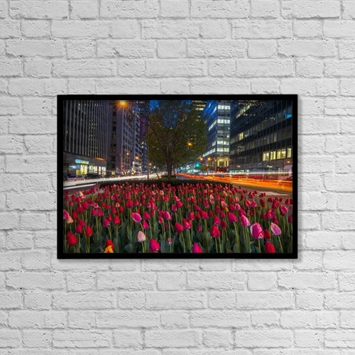 "Printscapes Wall Art: 18"" x 12"" Canvas Print With Black Frame - Tulip Display On Park Avenue by F. M. Kearney"