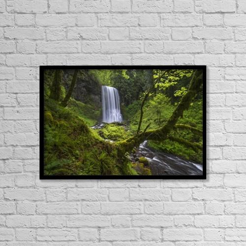 "Printscapes Wall Art: 18"" x 12"" Canvas Print With Black Frame - Lower Bridal Veil Falls by Robert Postma"