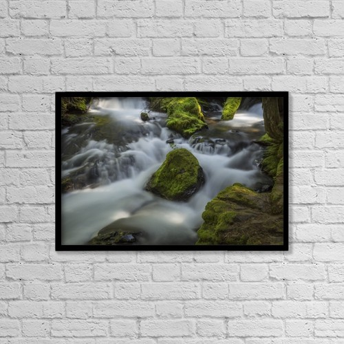"Printscapes Wall Art: 18"" x 12"" Canvas Print With Black Frame - A Portion Of Panther Creek by Robert Postma"