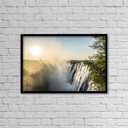 "Printscapes Wall Art: 18"" x 12"" Canvas Print With Black Frame - Victoria Falls; Livingstone, Zambia by Remsberg Inc"